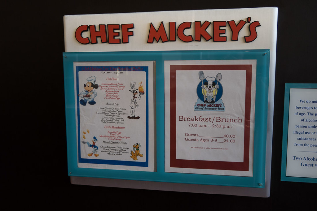Menu at Chef Mickey's