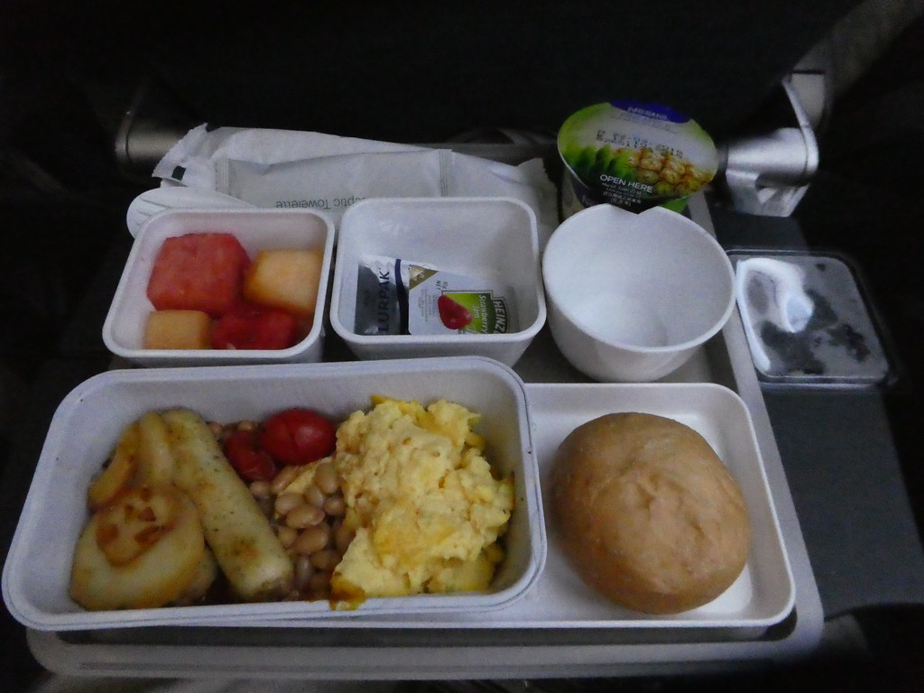 Breakfast on board our Cathay Pacific flight from Hong Kong to Manchester