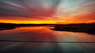 A sunrise at J. Edward Roush Lake