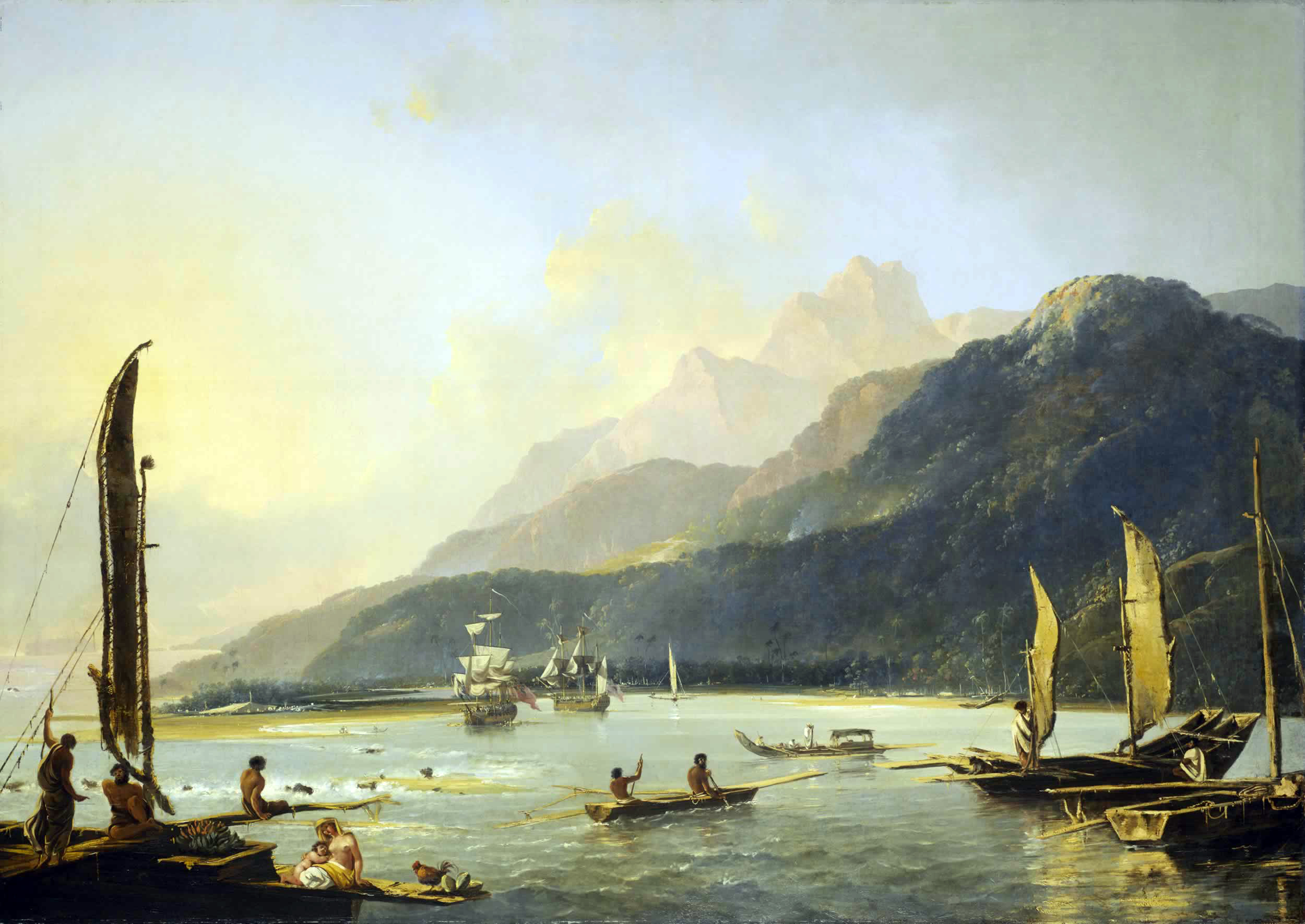 Resolution and Adventure with fishing craft in Matavai Bay, painted by William Hodges in 1776, shows the two ships of Commander James Cook's second voyage of exploration in the Pacific at anchor in Tahiti. Oil on canvas, currently at Royal Museums Greenwich, England.
