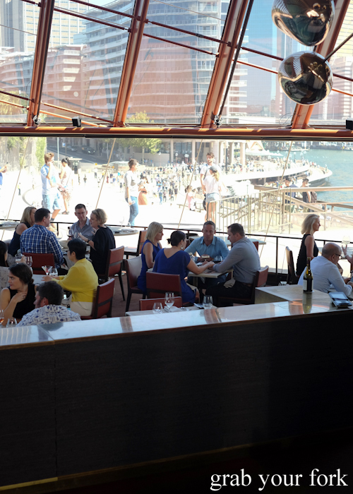 View of Circular Quay and Sydney Harbour from Bennelong Restaurant in the Sydney Opera House