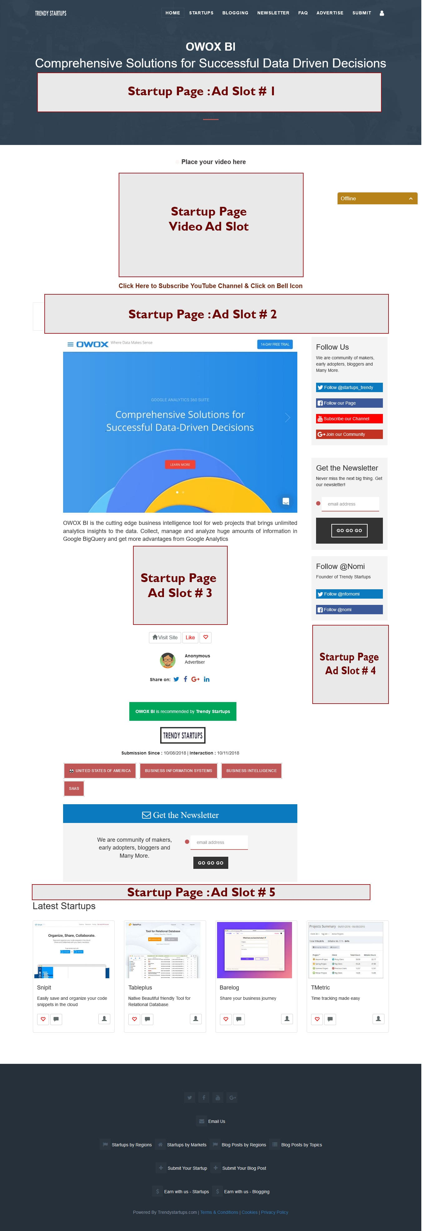 Startup page Ads