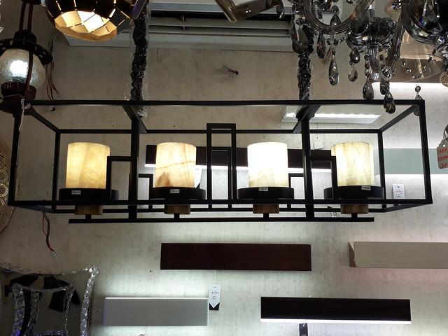Rectangular caged lamp