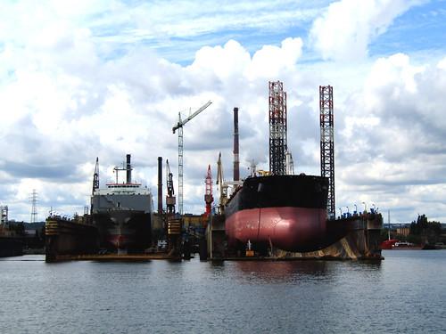 ships in dry dock at Gdansk Shipyard