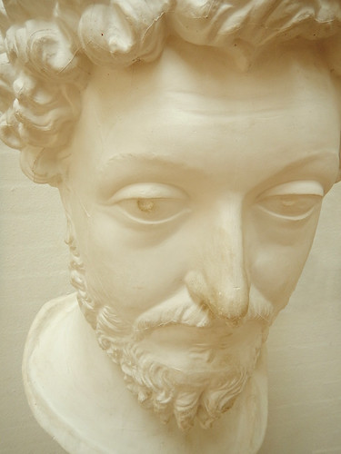 In the Silkeborg Museum Café, a plaster casting of a bust of the famous Roman Marcus Aurelius