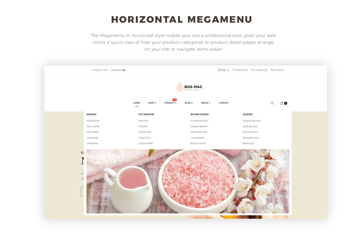 horizontal mege menu -Bos Mac Prestashop 1.7 theme - Cosmetic and Beauty Store - free install support