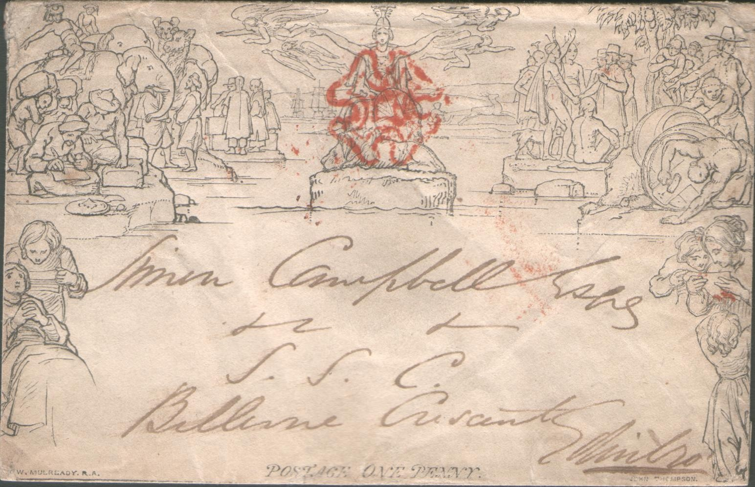 A 1-penny Mulready envelope sent from Hamilton, England on November 2, 1840, with a red Maltese cross cancellation.