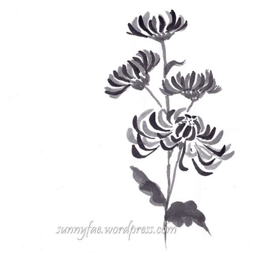 inktober chrysanthemum day 9