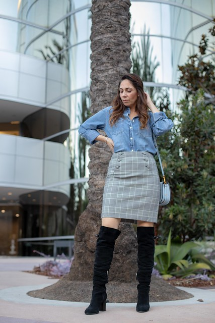 plaid skirt over the knee boots