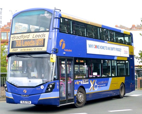 SL16 YOW 'First West Yorkshire' No. 35235, 'X6 Leeds/Bradford'.  Wright Streetdeck on Dennis Basford's railsroadsrunways.blogspot.co.uk'