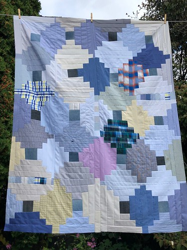 Casual Friday quilt by Poppyprint in progress. Upcycled men's shirts and jeans.