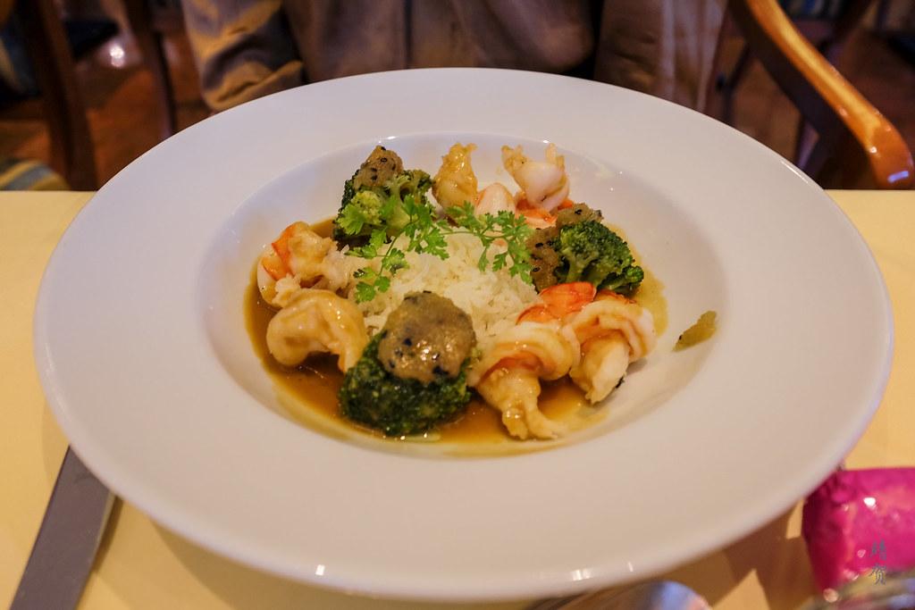 Confit prawns on bouillabaisse sauce
