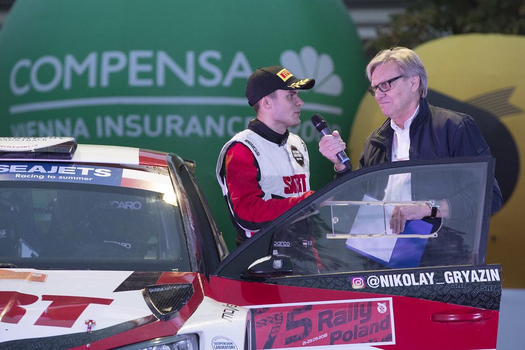 GRYAZIN Nikolay (LVA), FEDOROV Yaroslav (RUS), SPORTS RACING TECHNOLOGIES, Skoda Fabia R5, portrait conference de presse, press conference, during the 2018 European Rally Championship PZM Rally Poland at Mikolajki from September  21 to 23 - Photo Gregory Lenormand / DPPI