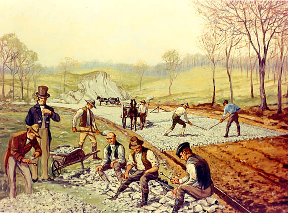 Construction of a macadamized road, the Boonsborough Turnpike Road between Hagerstown and Boonsboro, Maryland, 1823.. These roads allowed stagecoaches to travel at much greater speeds. Illustration painted by Carl Rakeman, inspired by the work of John Loudon McAdam.