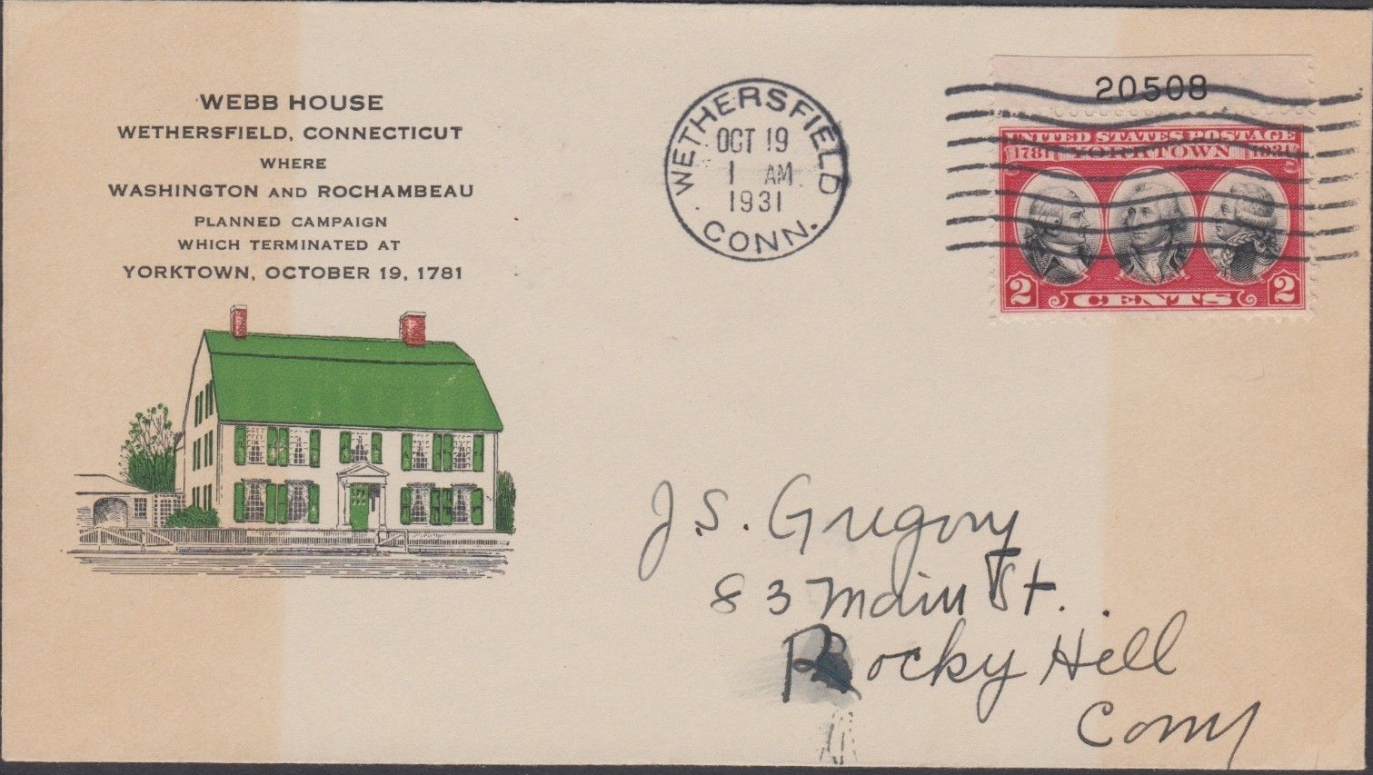 United States - Scott #703 (1931) first day cover from Wethersfield; Webb House cachet