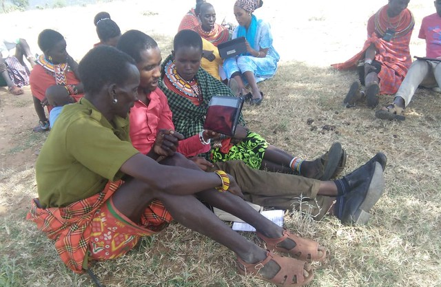 Community members playing the SIMPASTORALIST game in Samburu County.
