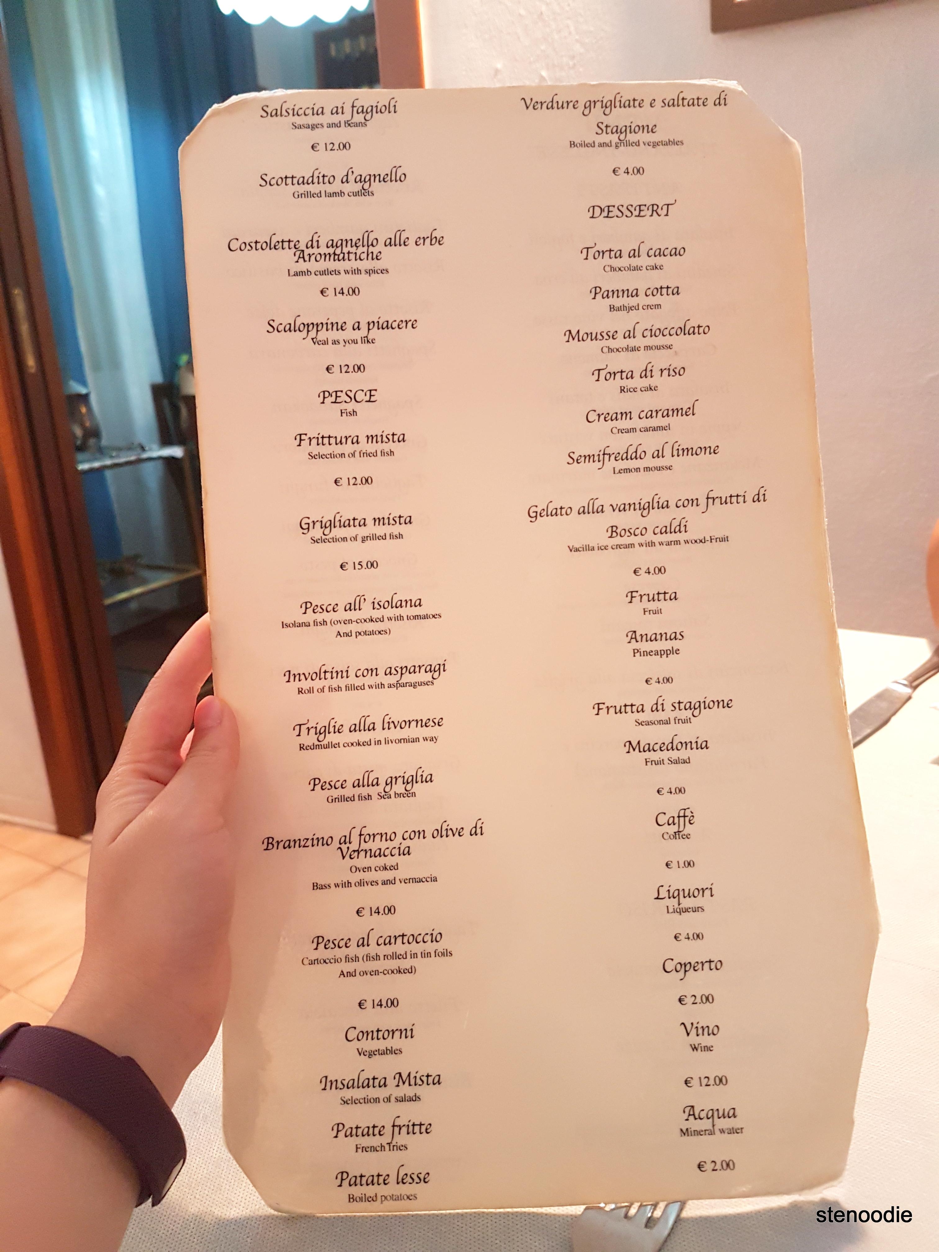 Ristorante Lo Schiaccianoci menu and prices