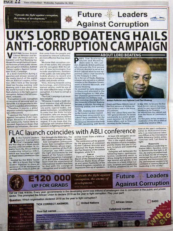 ABLI backs Eswatini corruption initiative. Picture by Bible Society, Andrew Boyd