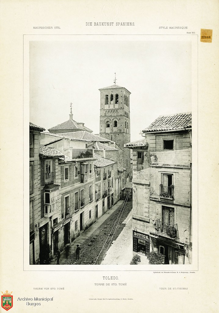 "Calle de Santo Tomé hacia 1887. De la obra ""Die Baukunst Spaniens in ihren hervorragendsten werken"", de Max Junghaendel. Archivo Municipal, Ayuntamiento de Burgos."