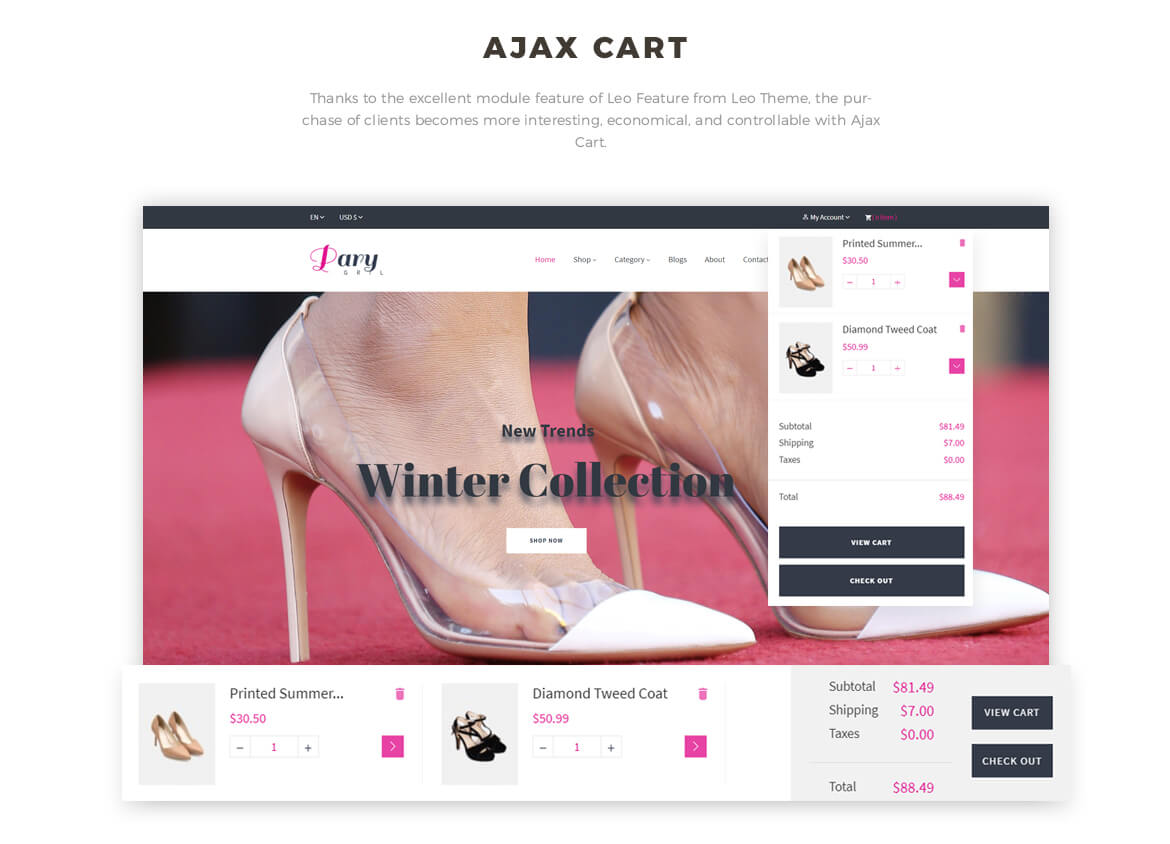 ajax add to cart - Leo Party Girl - Shoes and Fashion Prestashop 1.7 theme