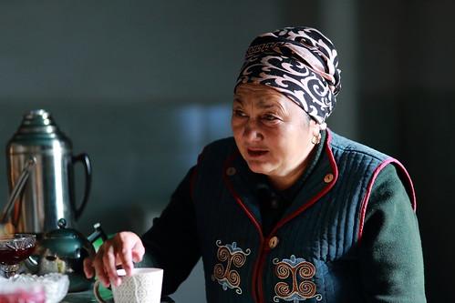 kyrgyzstan kyrgyz woman yurt tash rabat portrait people asia central