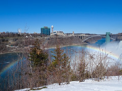 Niagara winter Rainbow Bridge with rainbow