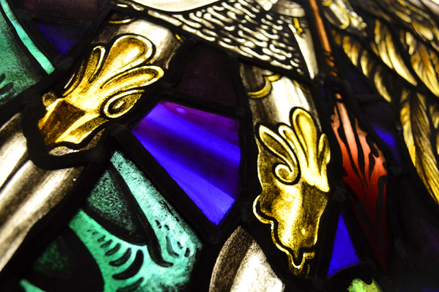 Archangel Michael's knees. Stained Glass Window.