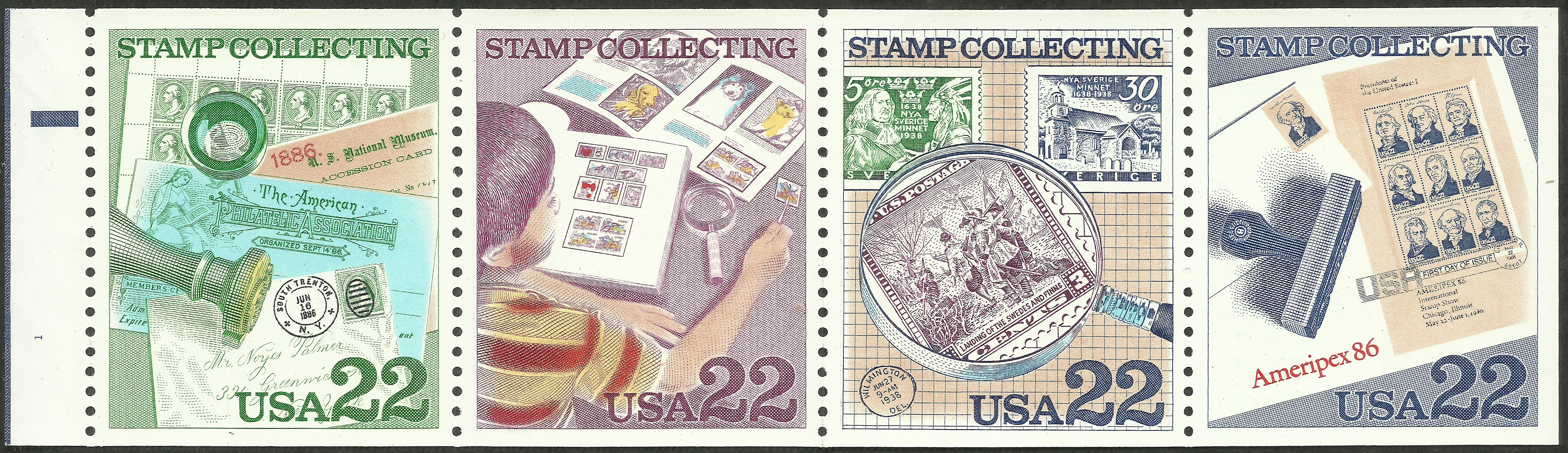 United States - Scott #2201a (1986) booklet pane of four