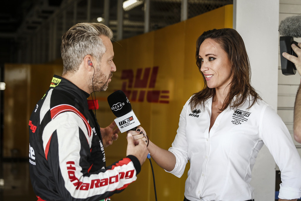 LEGOUIX Alexandra, (gbr), Eurosport Tv Presenter, portrait MONTEIRO Tiago, (prt), Honda Civic TCR team Boutsen Ginion racing, portrait during the 2018 FIA WTCR World Touring Car cup of Japan, at Suzuka from october 26 to 28 - Photo Francois Flamand / DPPI