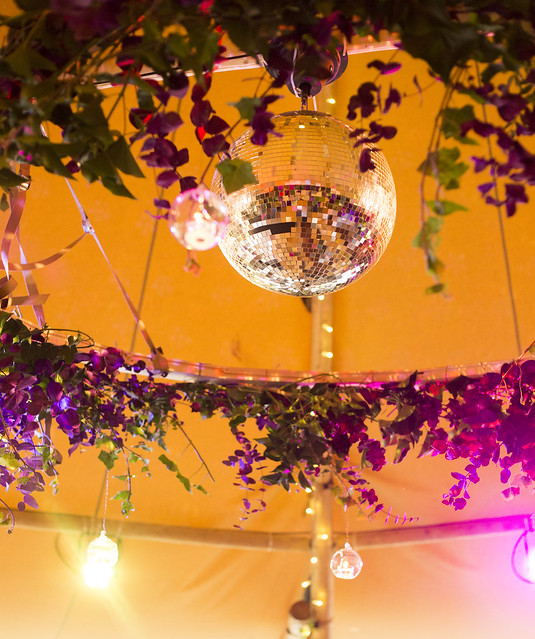 Disco ball & floral hoop
