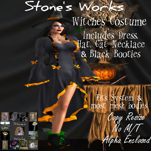 Witches Costume w Black Boots Stone's Works - TeleportHub.com Live!