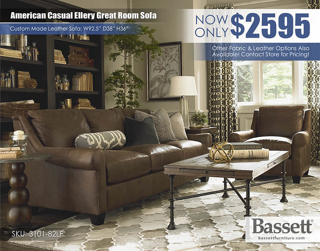 American Casual Ellery Leather Bassett Great Room Sofa_3101-82LCA