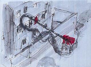 Uno degli acquerelli disegnati dal Maestro Pirri
