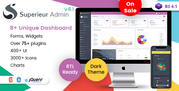 Superieur Admin v4.1 – Responsive Bootstrap 4 Admin Template Dashboard Web App