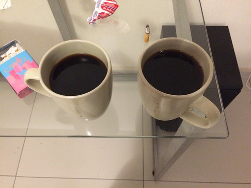 Two cups of coffee? But I only remember 1 cup of coffee. Why sudently are two cups of coffee.
