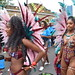 DSC_8458 Notting Hill Caribbean Carnival London Exotic Colourful Maroon Costume with Pink and Blue Ostrich Feather Headdress Girls Dancing Showgirl Performers Aug 27 2018 Stunning Ladies