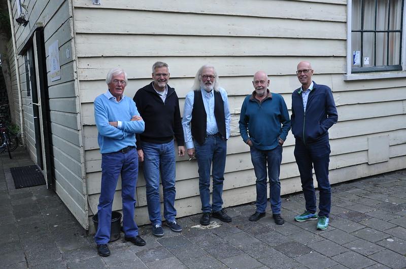 Zaans Erfgoed: vlnr Cees Kruit, Jan Piet Bloem, Ron Kiburg, Piet van Nugteren, Piet Oudega