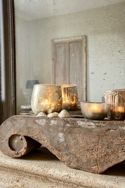 Schouw verweerde spiegel windlicht ornament schelpen