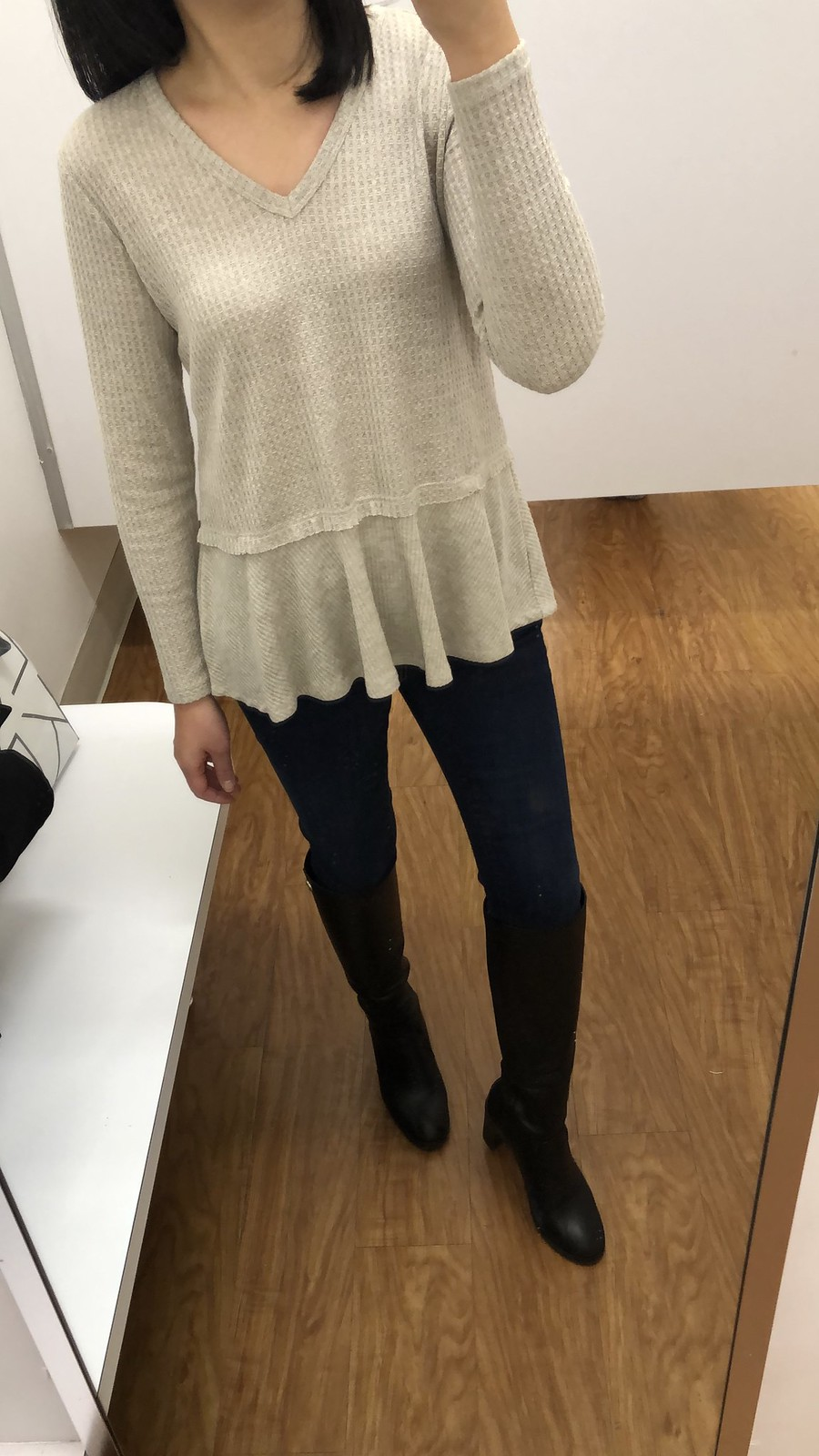 Style & Co Petite Mixed-Media Thermal, size P/S