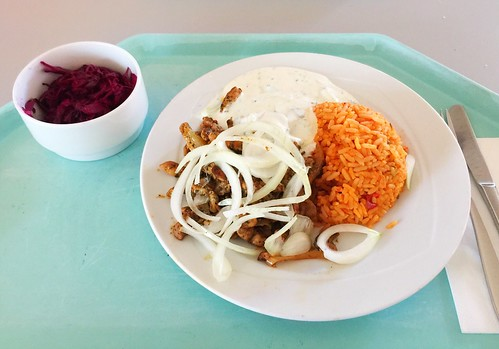 Greek pork gyros with fresh onions, tzatziki & tomato rice / Griechisches Gyros vom Schwein mit frischen Zwiebeln, Tzaziki & Tomatenreis