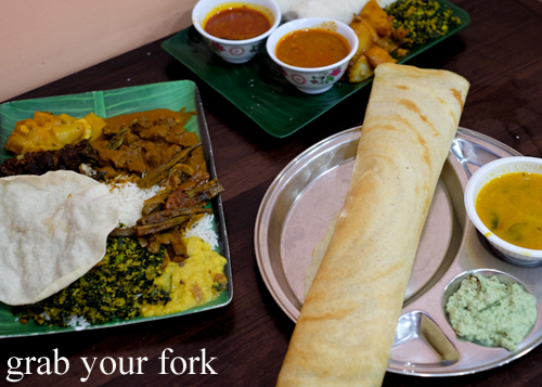 Banana leaf curry, white pittu and masala dosai at Amma's Modern Kitchen in Pendle Hill Sydney