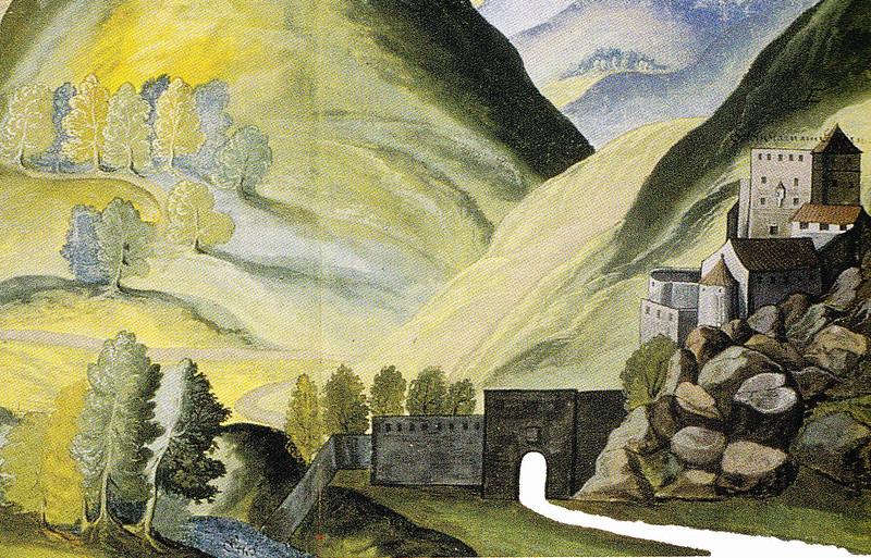 Castel Pietra con il Murazzo, particolare di un acquerello - sec. XVII, proprietà famiglia Trapp di Churburg