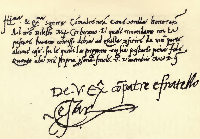 Hand-written letter by Cesare Borgia to Isabelle d'Este, signed