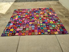 Three hundred and sixty crochet remnants rehabbed into crochet squares
