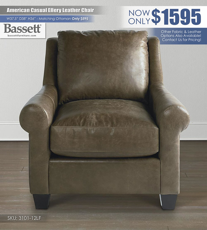 American Casual Ellery Leather Chair Bassett_3101-12L