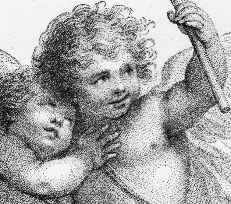 A detail of a stipple engraving by Francesco Bartolozzi (1725-1815), showing technique.