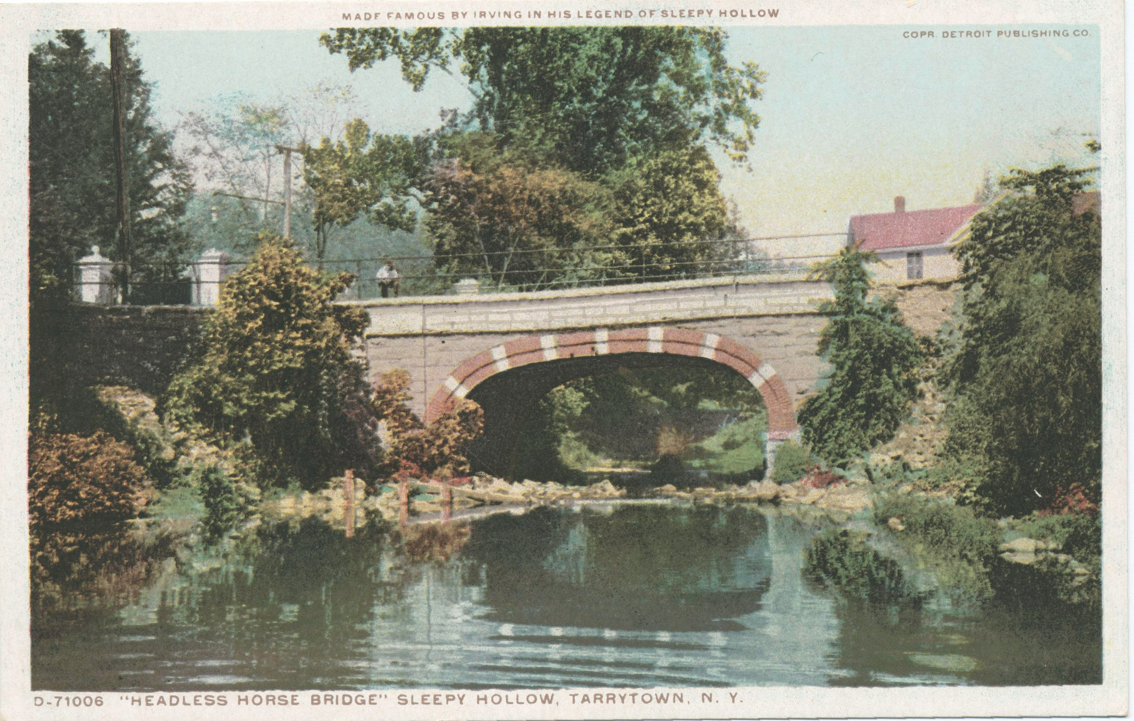 Postcard showing Headless Horseman Bridge, Sleepy Hollow, Tarrytown, N. Y. Published by Detroit Publishing Company, circa 1913-1918. Image from the New York Public Library's Digital Library under the digital ID 56a156d0-c631-012f-4eff-58d385a7bc34.