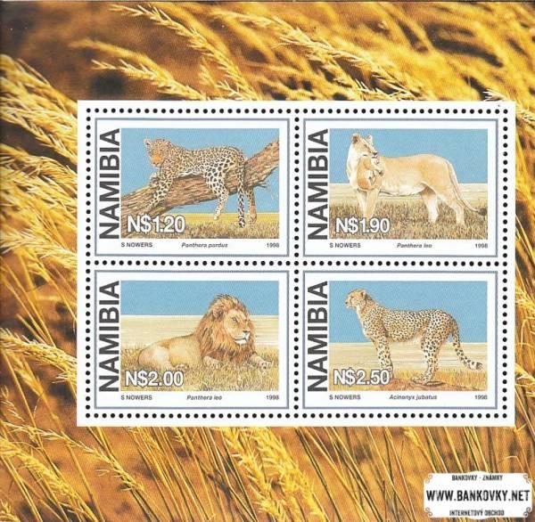 Známky Namíbia 1998 Veľké mačky, hárček