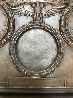 WWI In Memoriam plaque closeup Burns