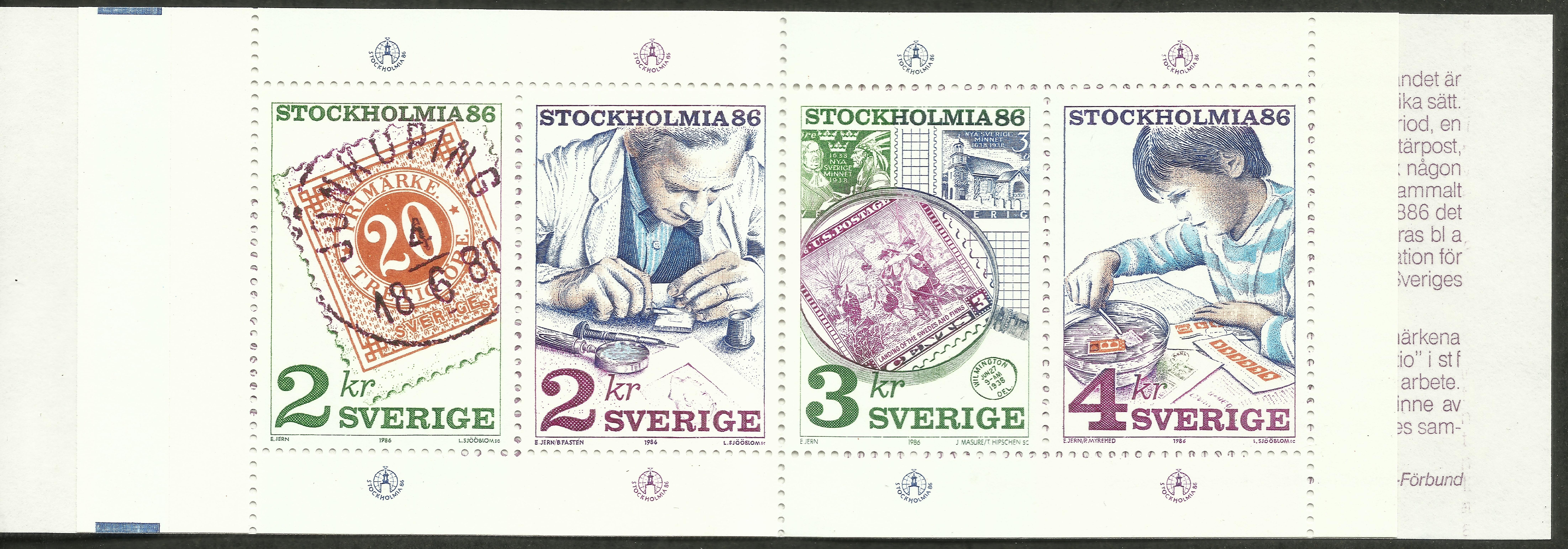 Sweden - Scott #1588a (1986) booklet pane